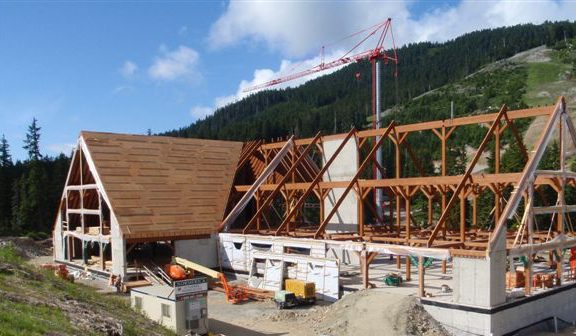 Normerica Timber Frame, Commercial Project, Cypress Mountain Day Lodge Ski Resort, West Vancouver British Columbia, Exterior, Construction