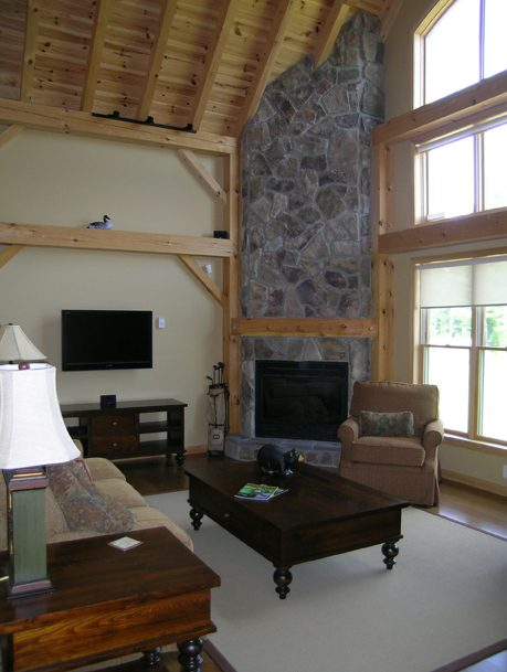 Normerica Timber Frame, Commercial Project, The Cottages at Diamond 'In the Ruff', Muskoka Lakes, Ontario, Interior, Fireplace