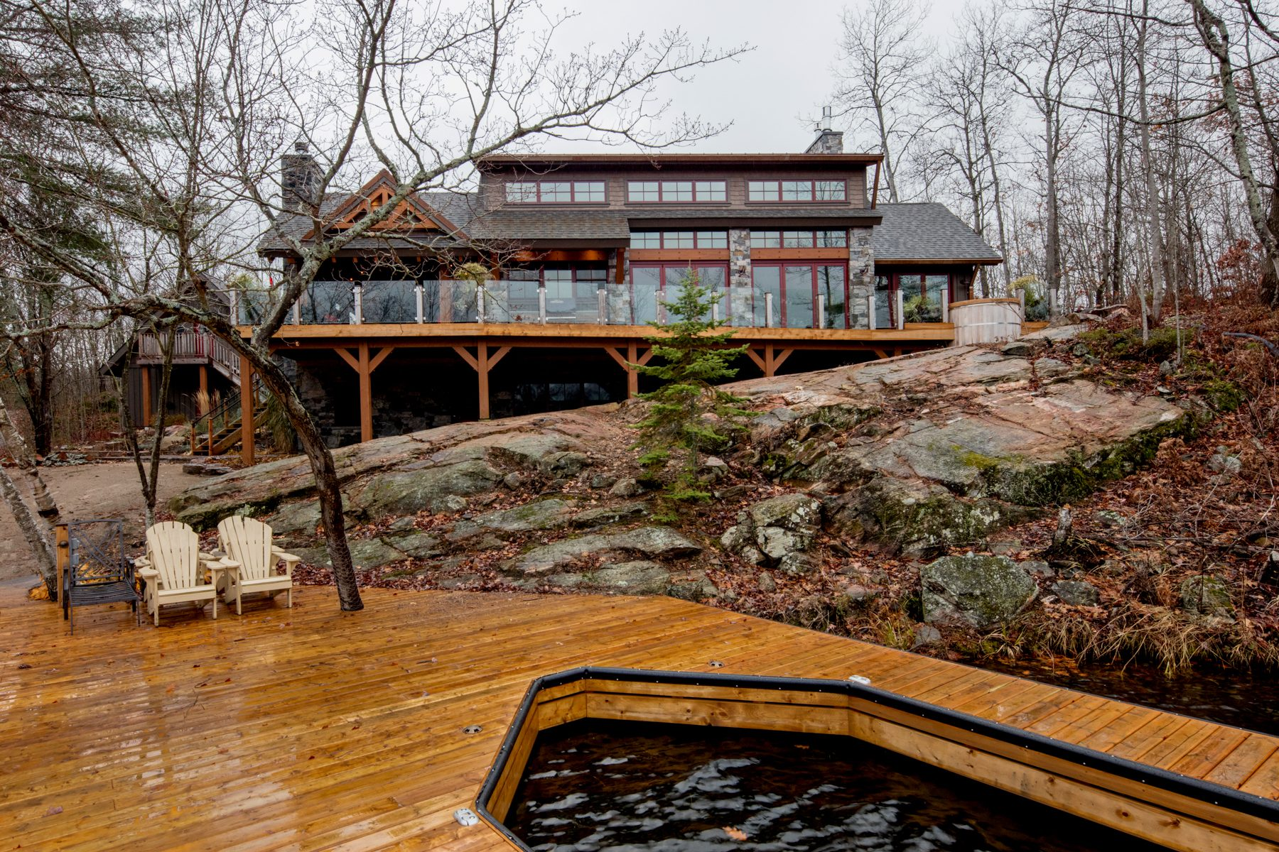 Normerica Timber Frame, Exterior, Cottage, Rear View, Lake View, Dock