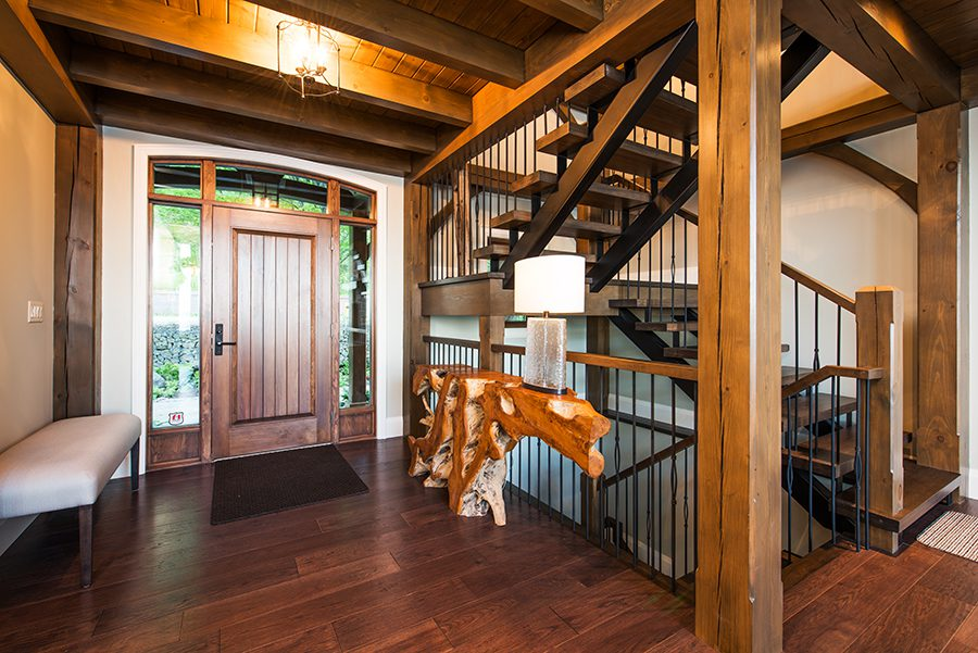 Normerica Timber Frame, Interior, Cottage, Entry, Stairs