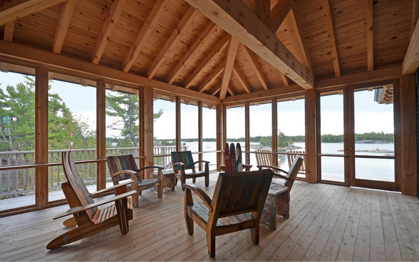 Normerica Timber Frame, Interior, Cottage, Screened Porch, View of the Lake