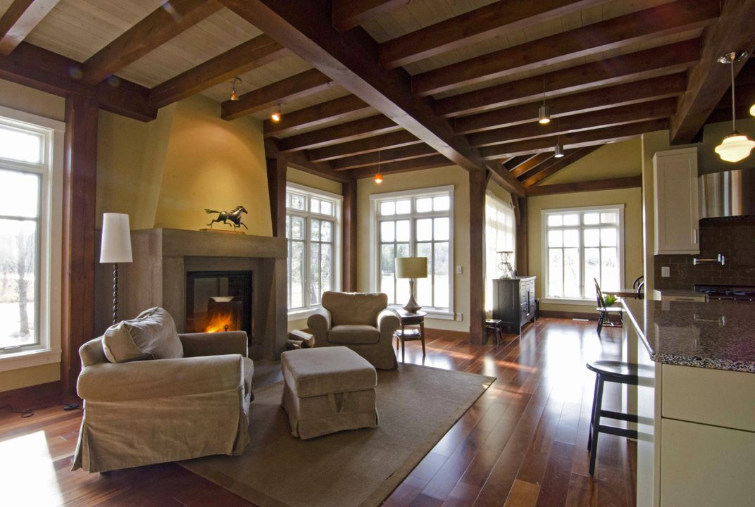 Normerica Timber Frame, Interior, Cottage, Sitting Room, Fireplace