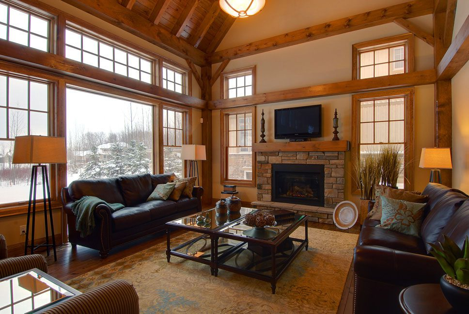 Normerica Timber Frame, Interiror, Fireplace, Living Room, Cathedral Ceiling