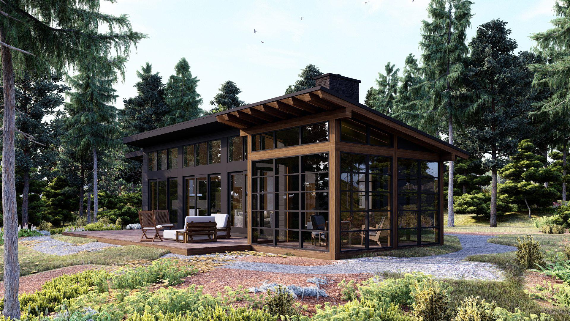 Timber Frame Cottage Designs Plans   The Bayfield 3945   Normerica   Exterior, Back, Porch