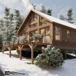 Timber Frame Open Concept House Plans | The Rouge | Normerica | Exterior, Side, Winter