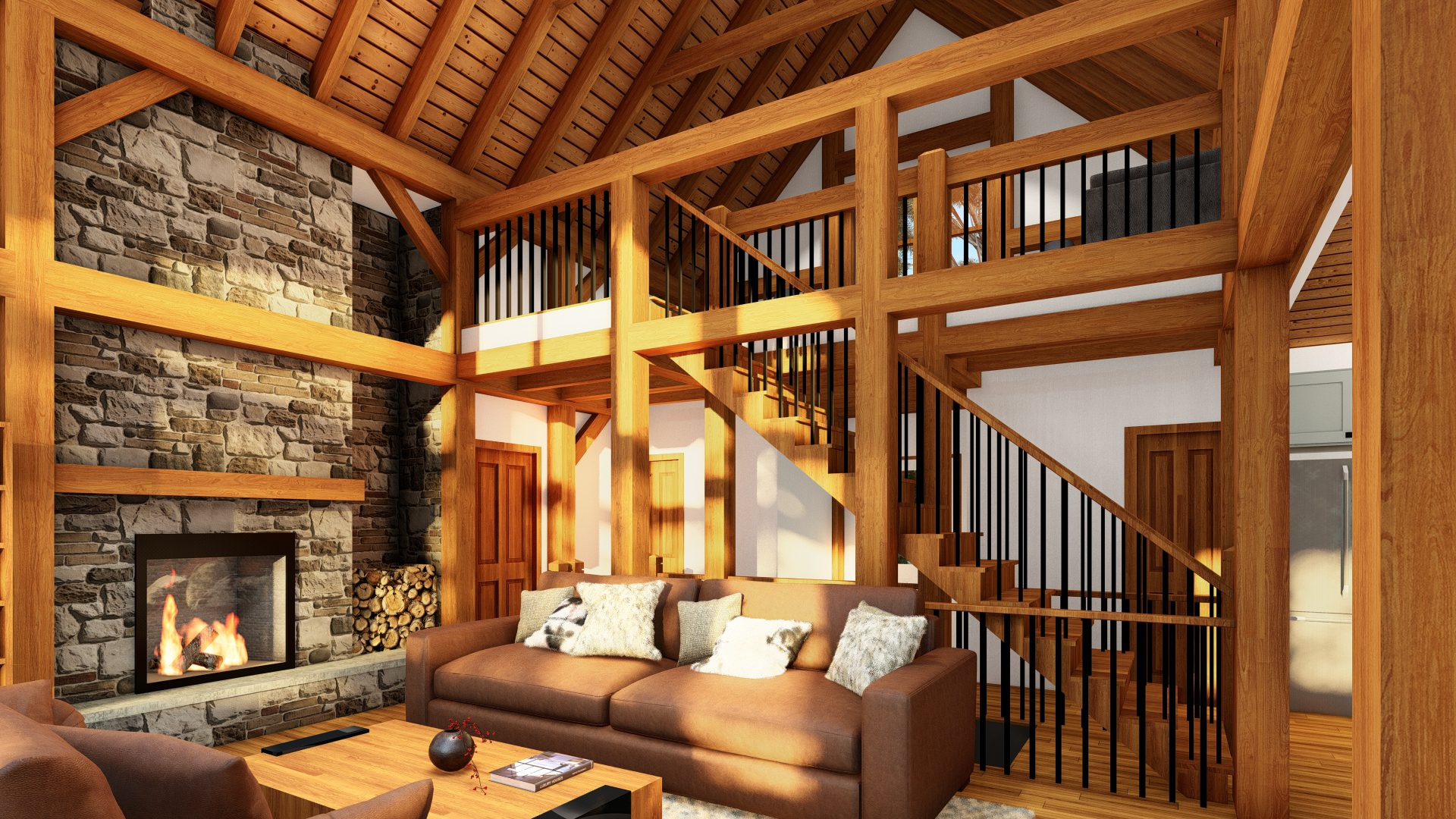 Normerica Timber Frames, House Plans, The Tobermory 3949, Interior, Living Room, Fireplace
