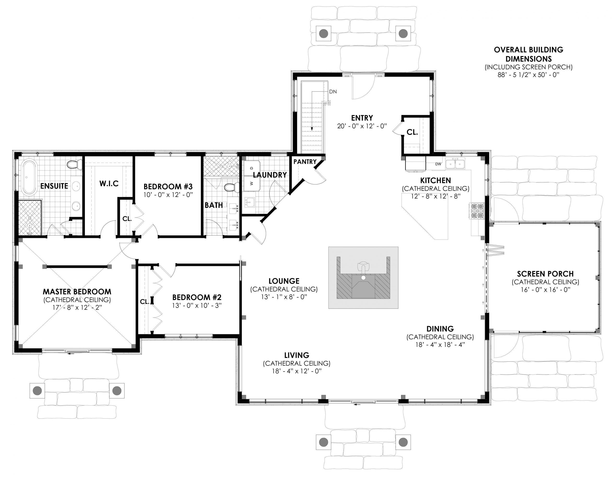 Normerica Timber Frames, House Plan, The Britt 3954, First Floor Layout