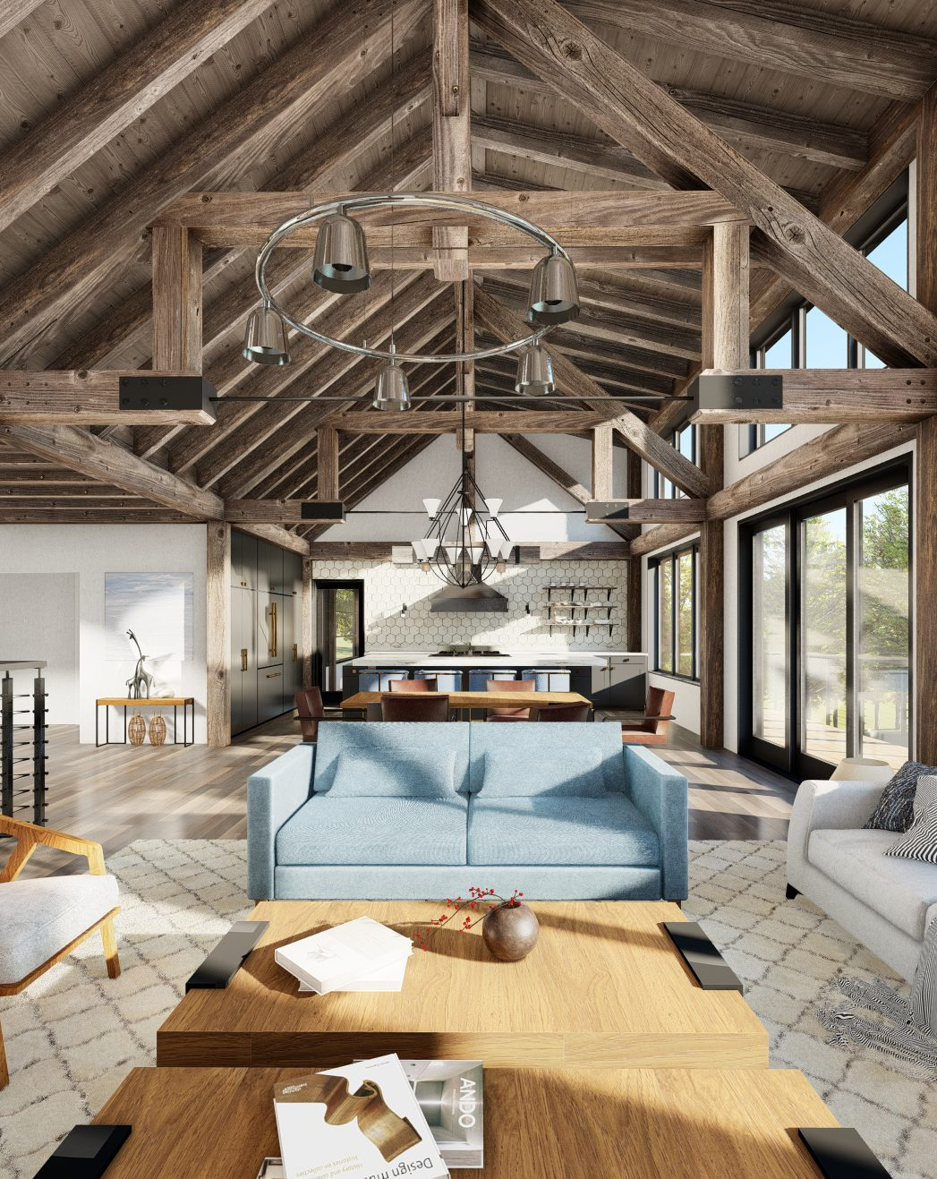 Normerica Timber Frames, House Plan, The Redstone 3920, Interior, Living Room, Open Concept, Cathedral Ceiling 2