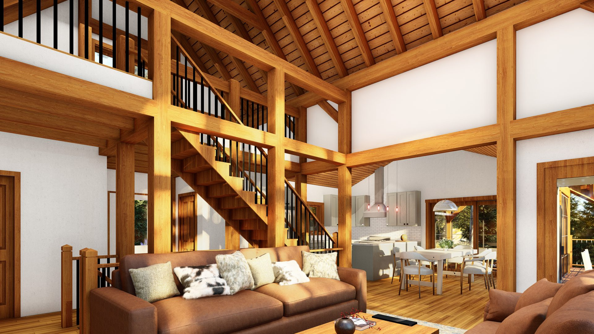 Normerica Timber Frames, House Plans, The Tobermory 3949, Interior, Living Room, Stairs to Loft