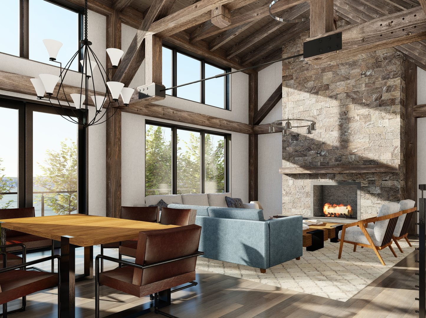 Normerica Timber Frames, House Plan, The Redstone 3920, Interior, Living Room, Open Concept, Cathedral Ceiling, Fireplace