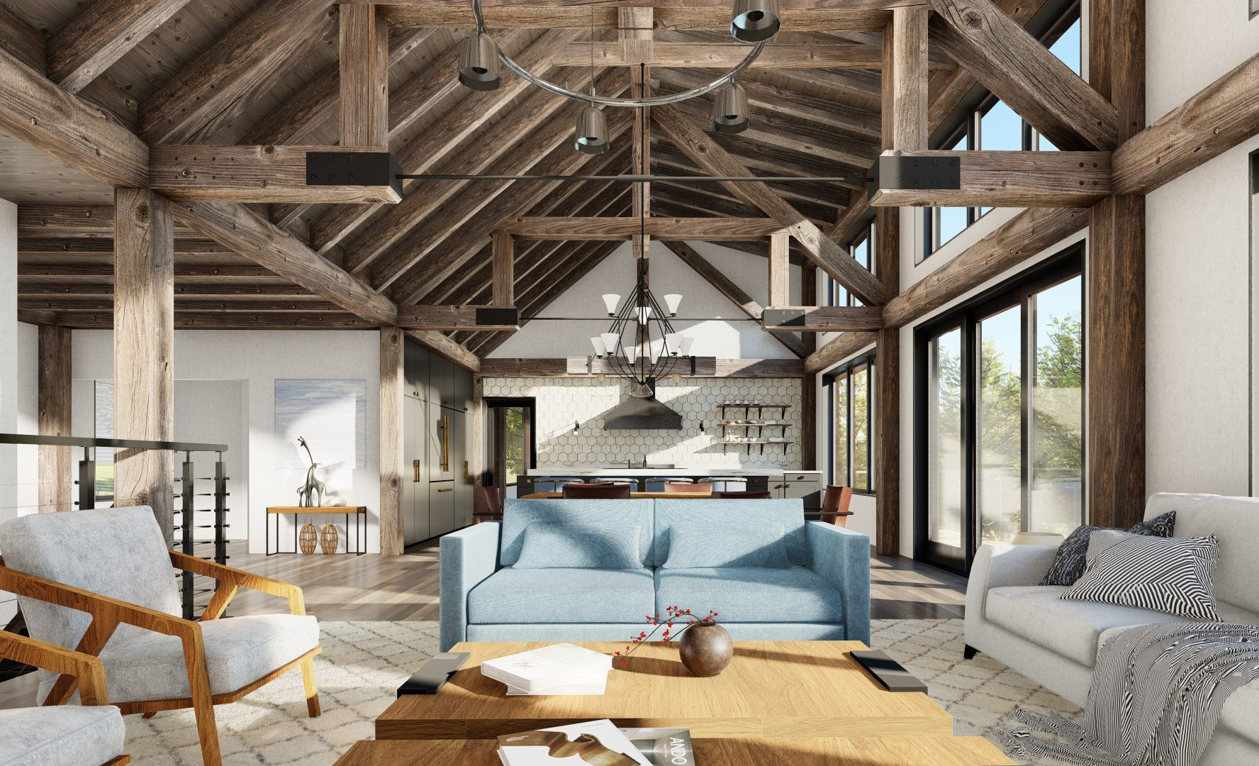 Normerica Timber Frames, House Plan, The Redstone 3920, Interior, Living Room, Open Concept, Cathedral Ceiling