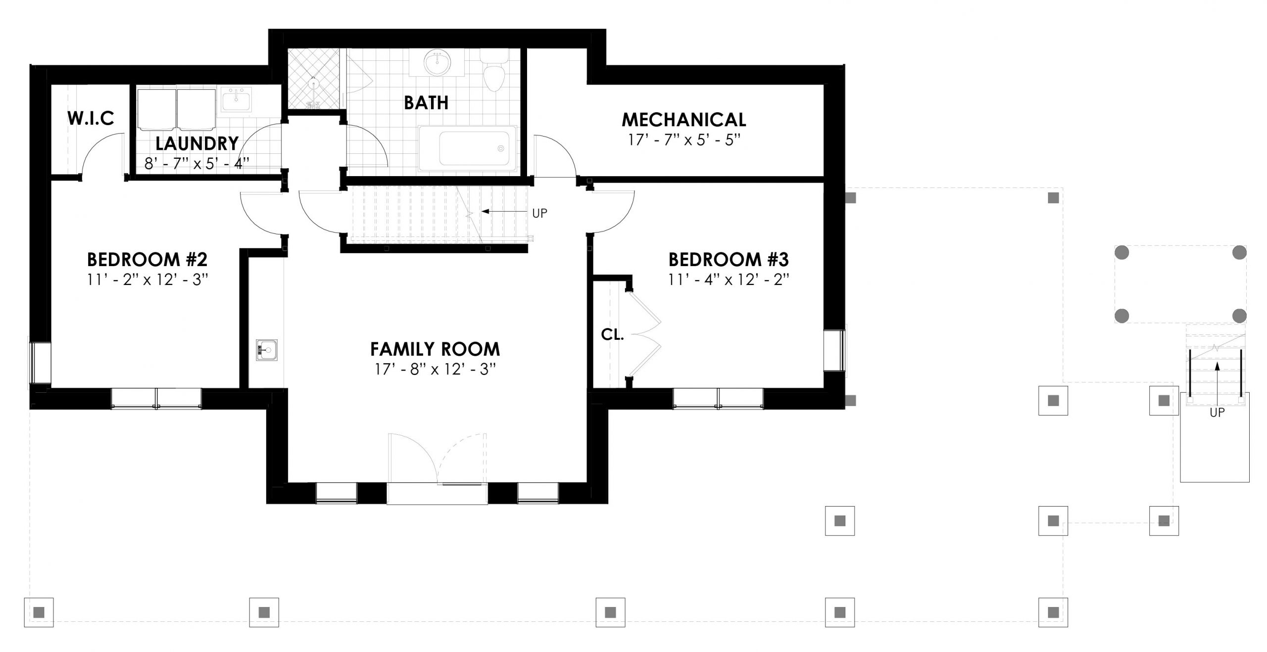 Normerica Timber Frames, House Plans, The Tobermory 3949, Interior, Basement Layout
