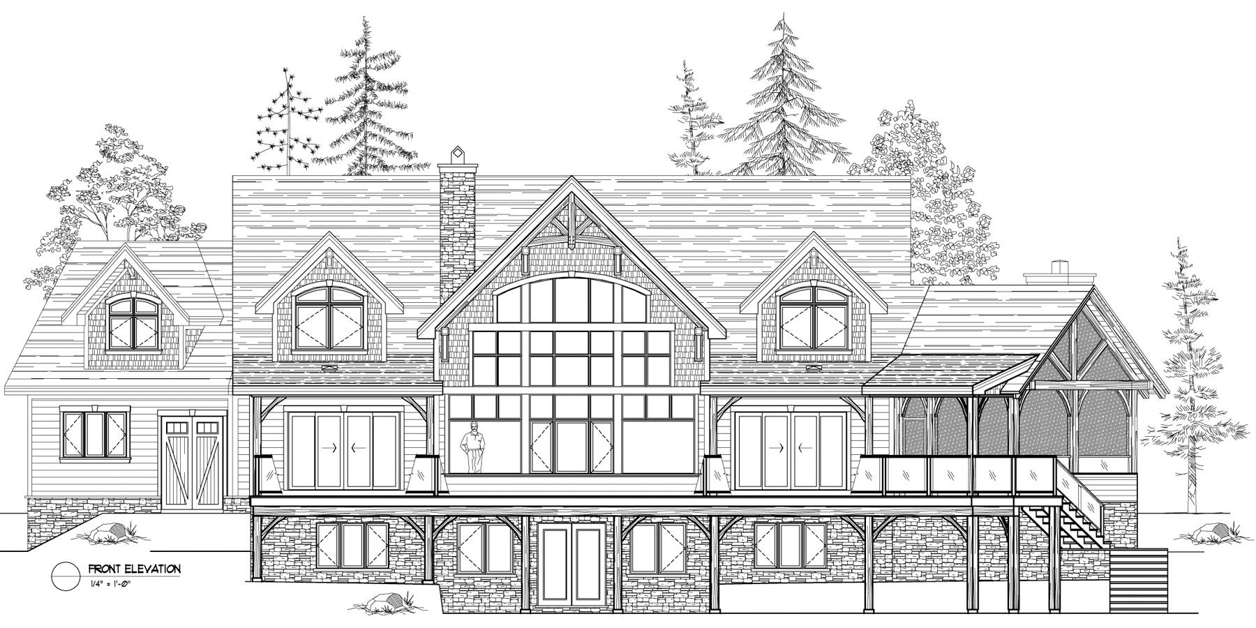 Normerica Timber Frame, House Plan, The Kearns 3510, Front Elevation