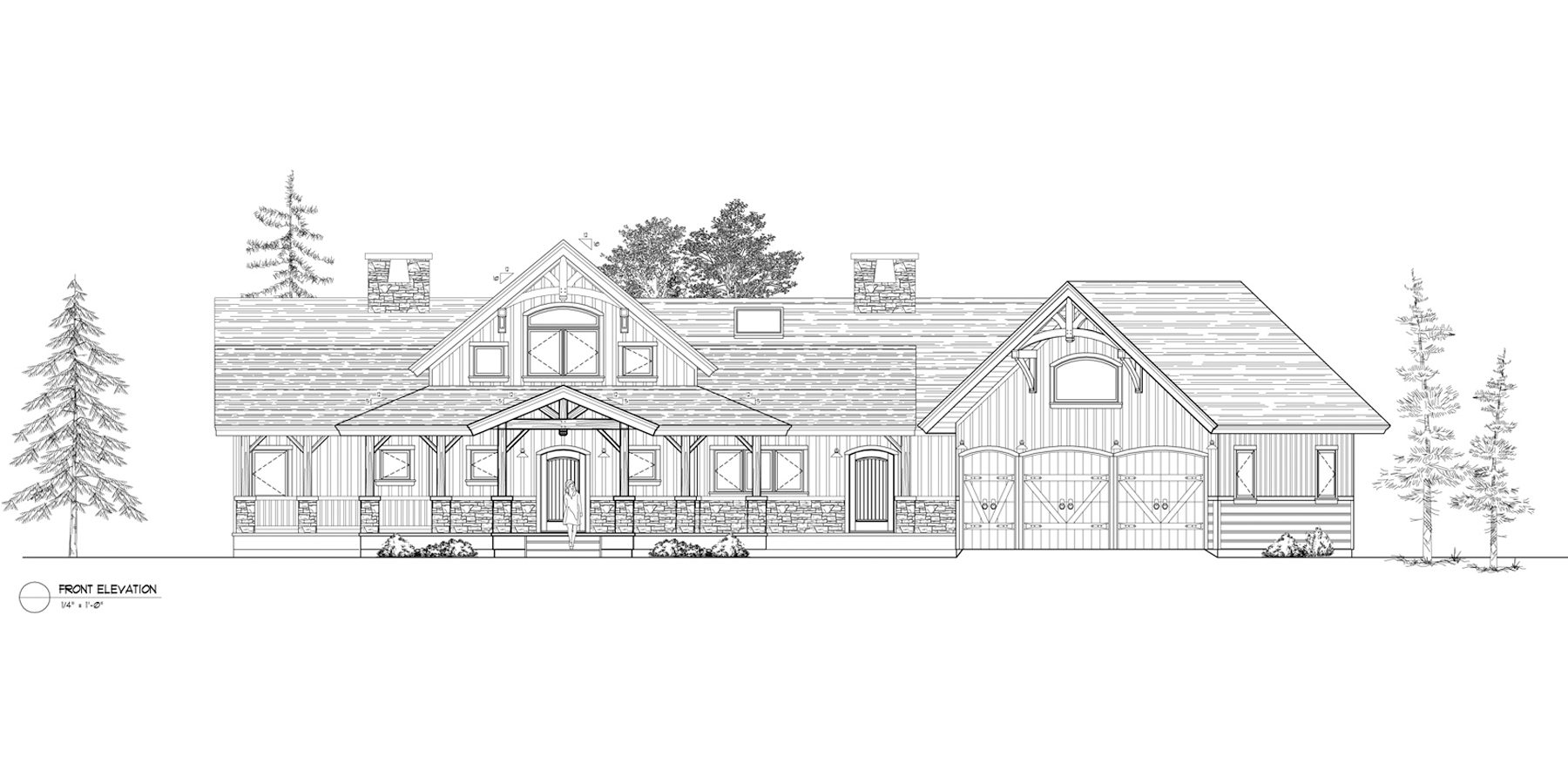 Normerica Timber Frames, House Plan, Algoma 3538, Front Elevation