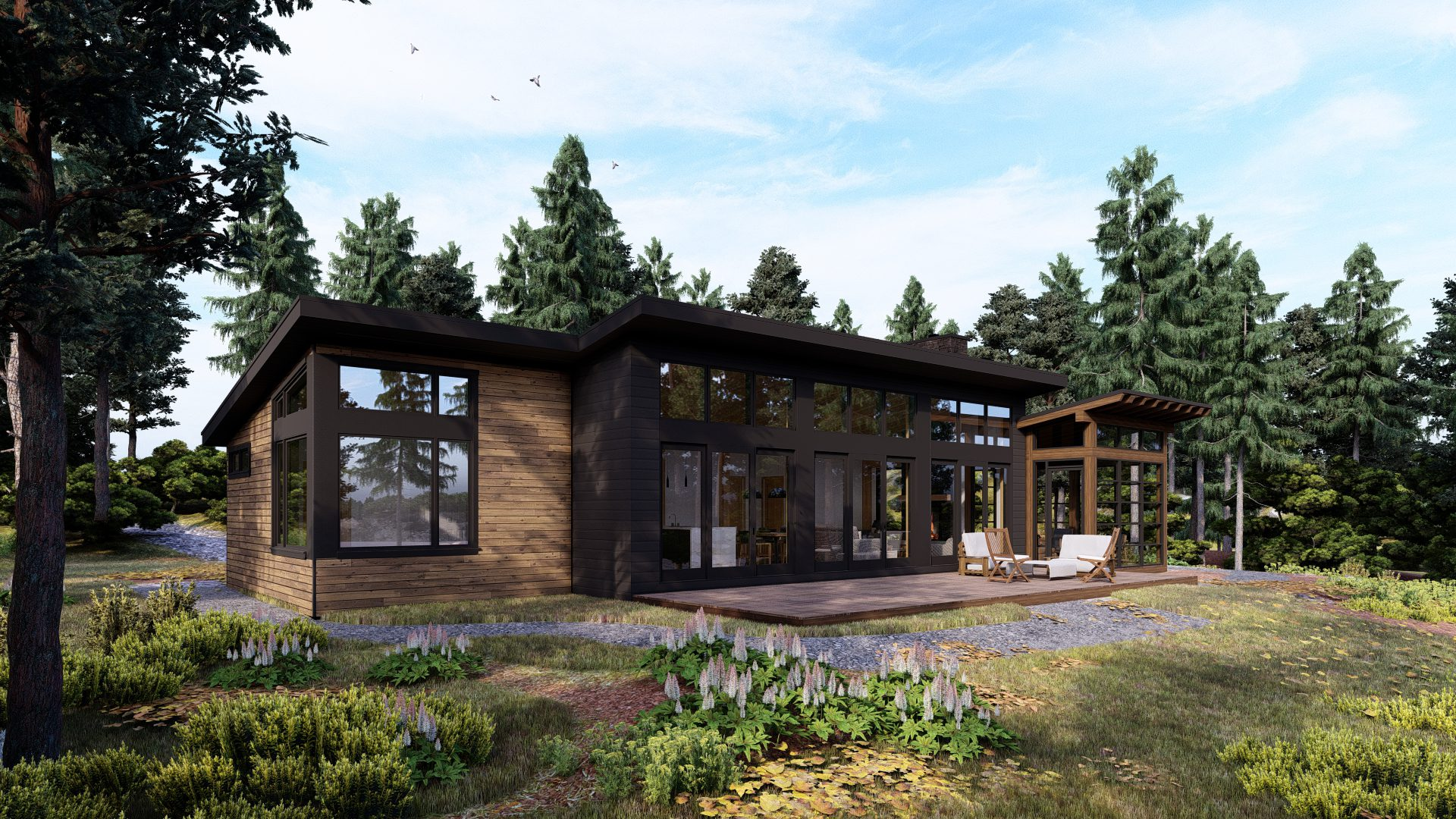 Normerica Timber Frames, House Plan, The Bayfield 3945, Exterior, Back