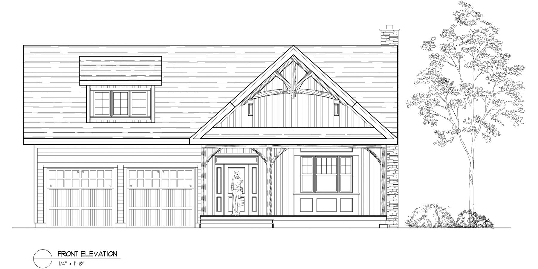 Normerica Timber Frames, House Plan, The Birches 3532, Front Elevation