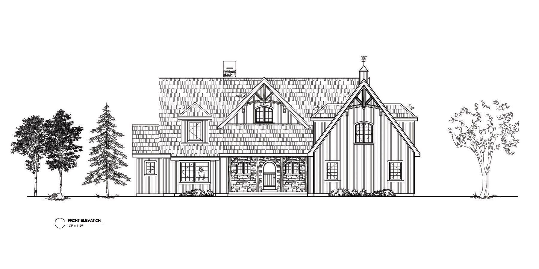 Normerica Timber Frames, House Plan, The Brennan 3576, Front Elevation