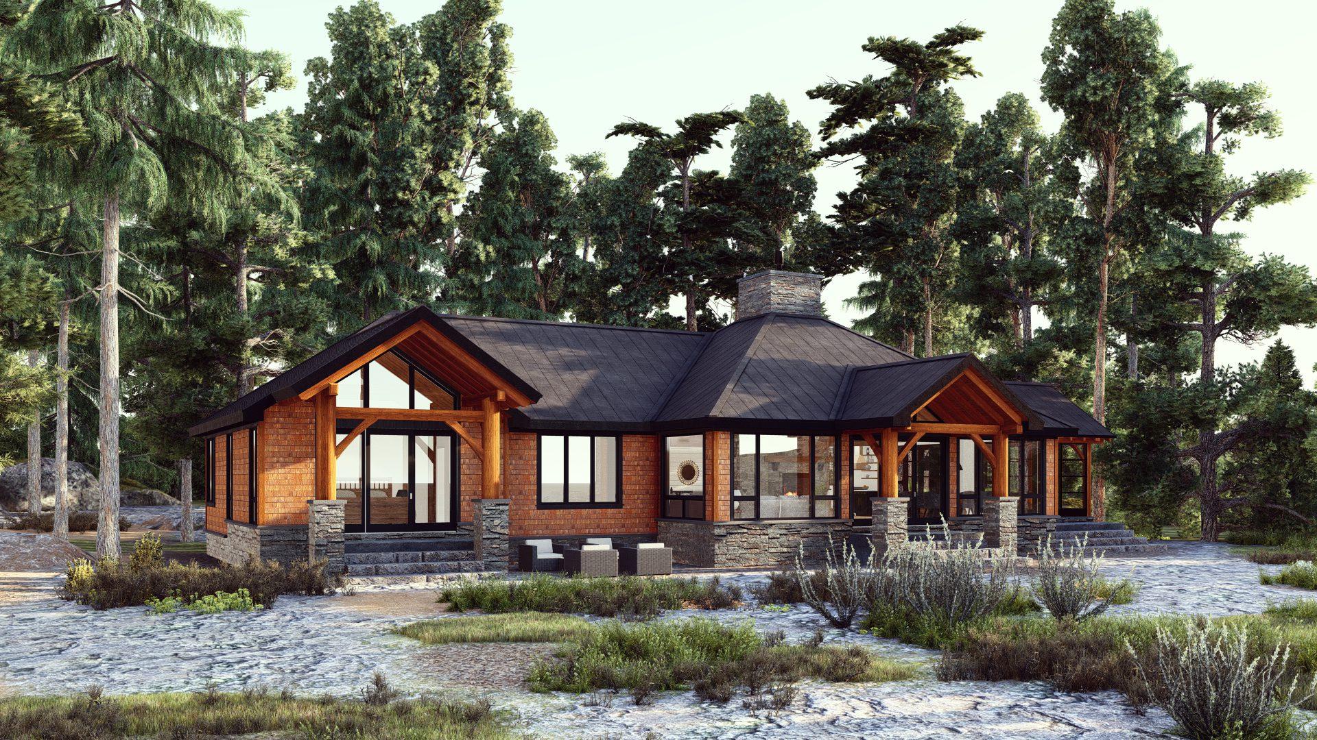 Normerica Timber Frames, House Plan, The Britt 3954, Exterior, Back