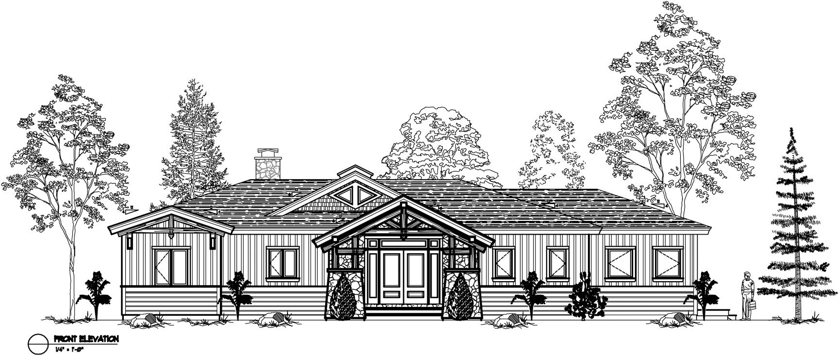 Normerica Timber Frames, House Plan, The Highrock 3579, Front Elevation