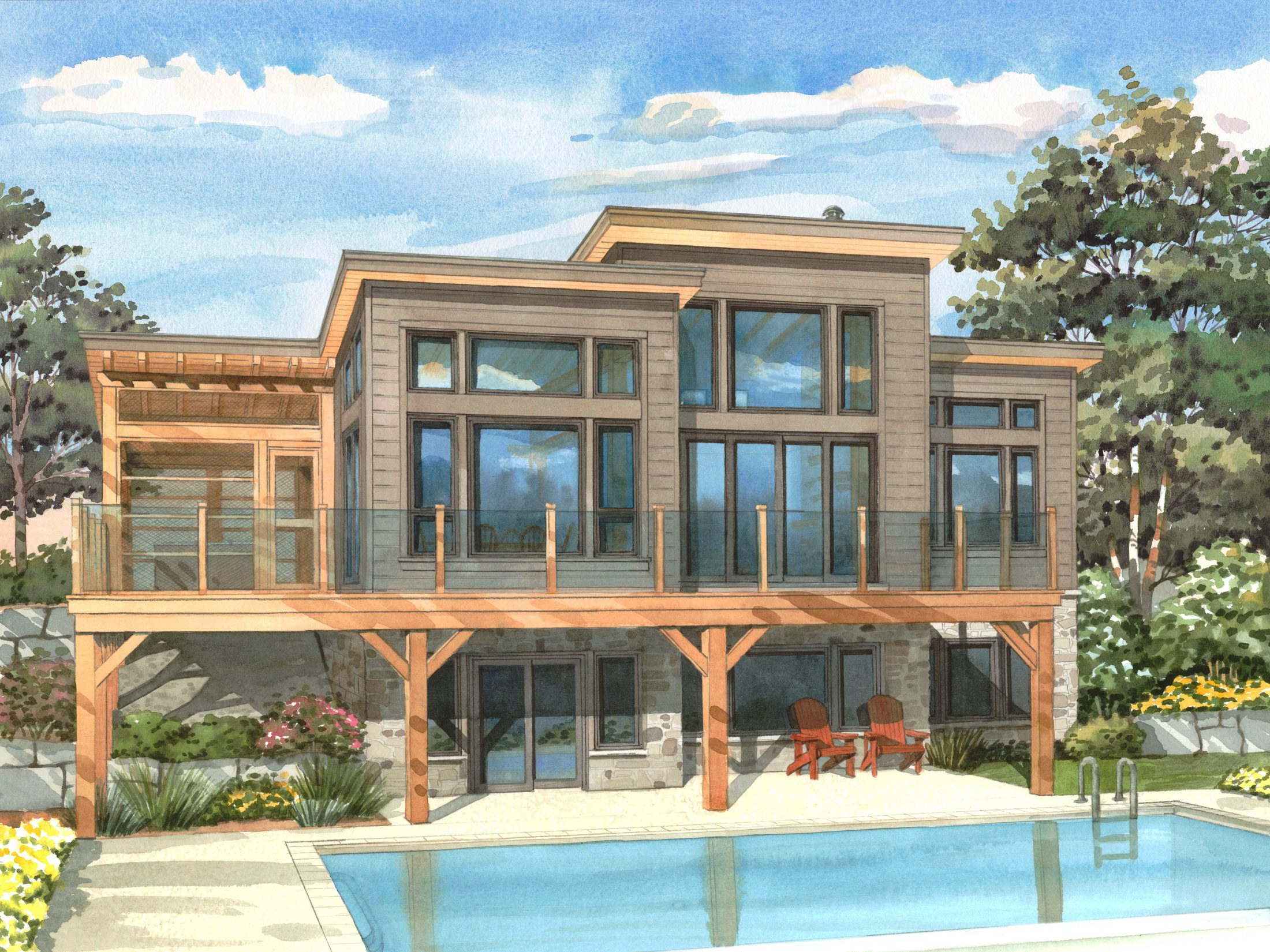 Normerica Timber Frames, House Plan, The Kershaw 3808, Watercolour, Rear