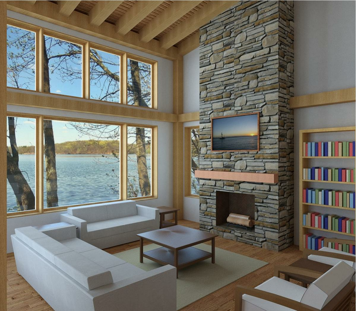 Normerica Timber Frames, House Plan, The Killarney 2134, Living Room, Fireplace