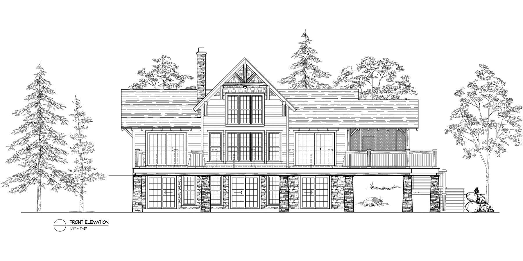 Normerica Timber Frames, House Plan, The Lanark 3522, Front Elevation