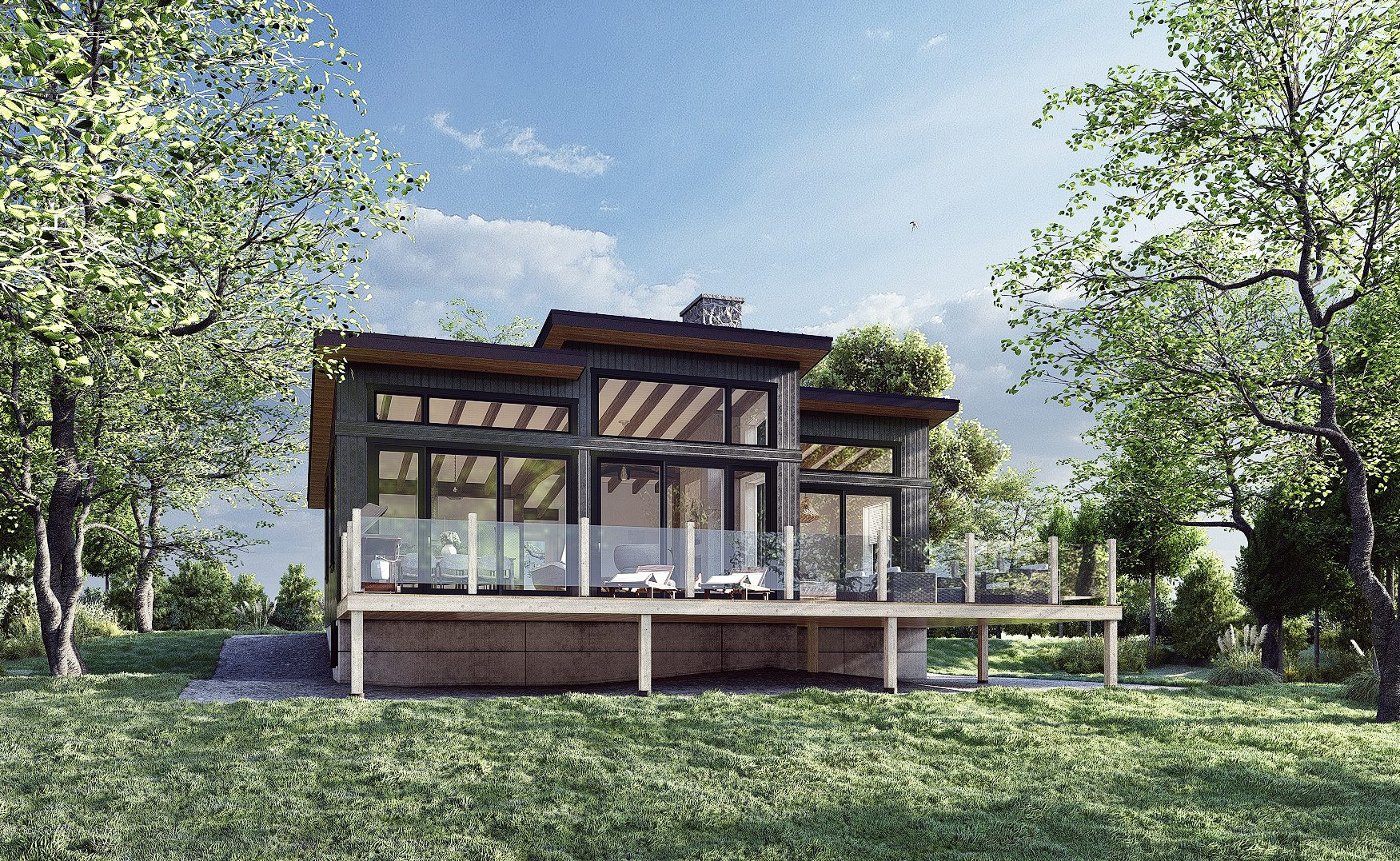 Normerica Timber Frames, House Plan, The Laurentian, Exterior, Rear