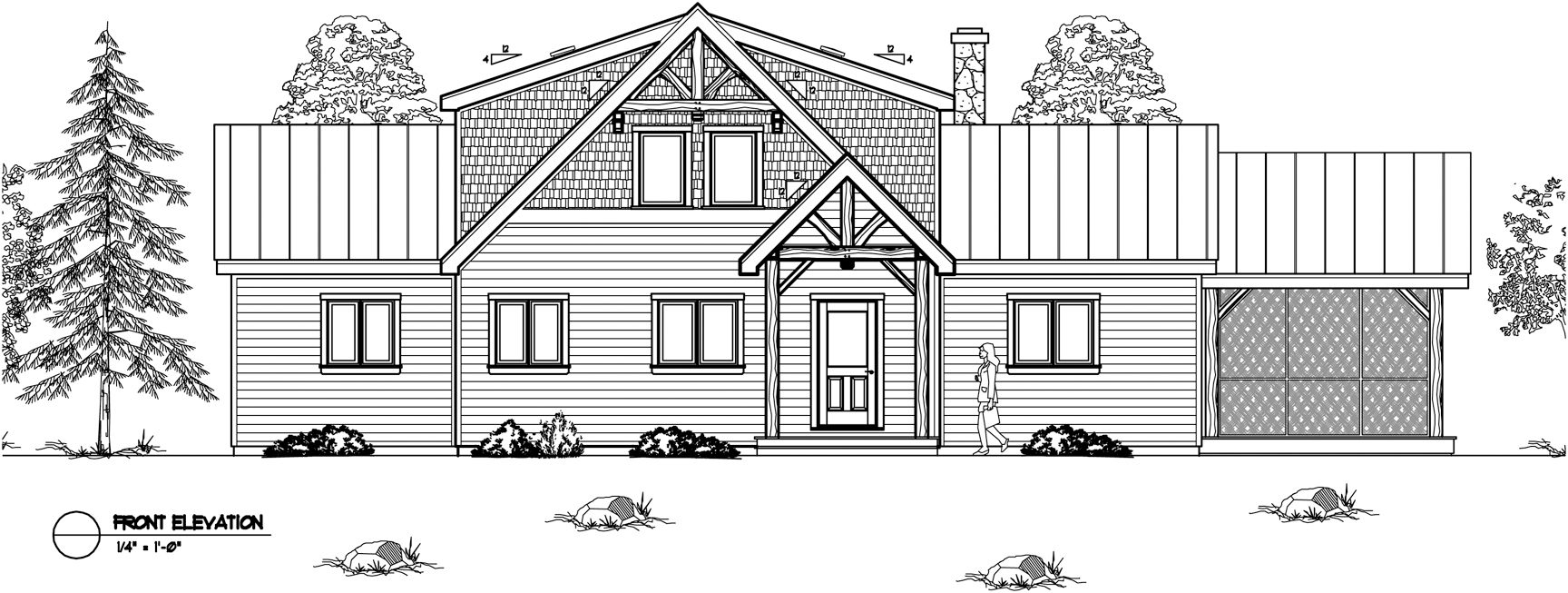Normerica Timber Frames, House Plan, The Lennox 3546, Front Elevation