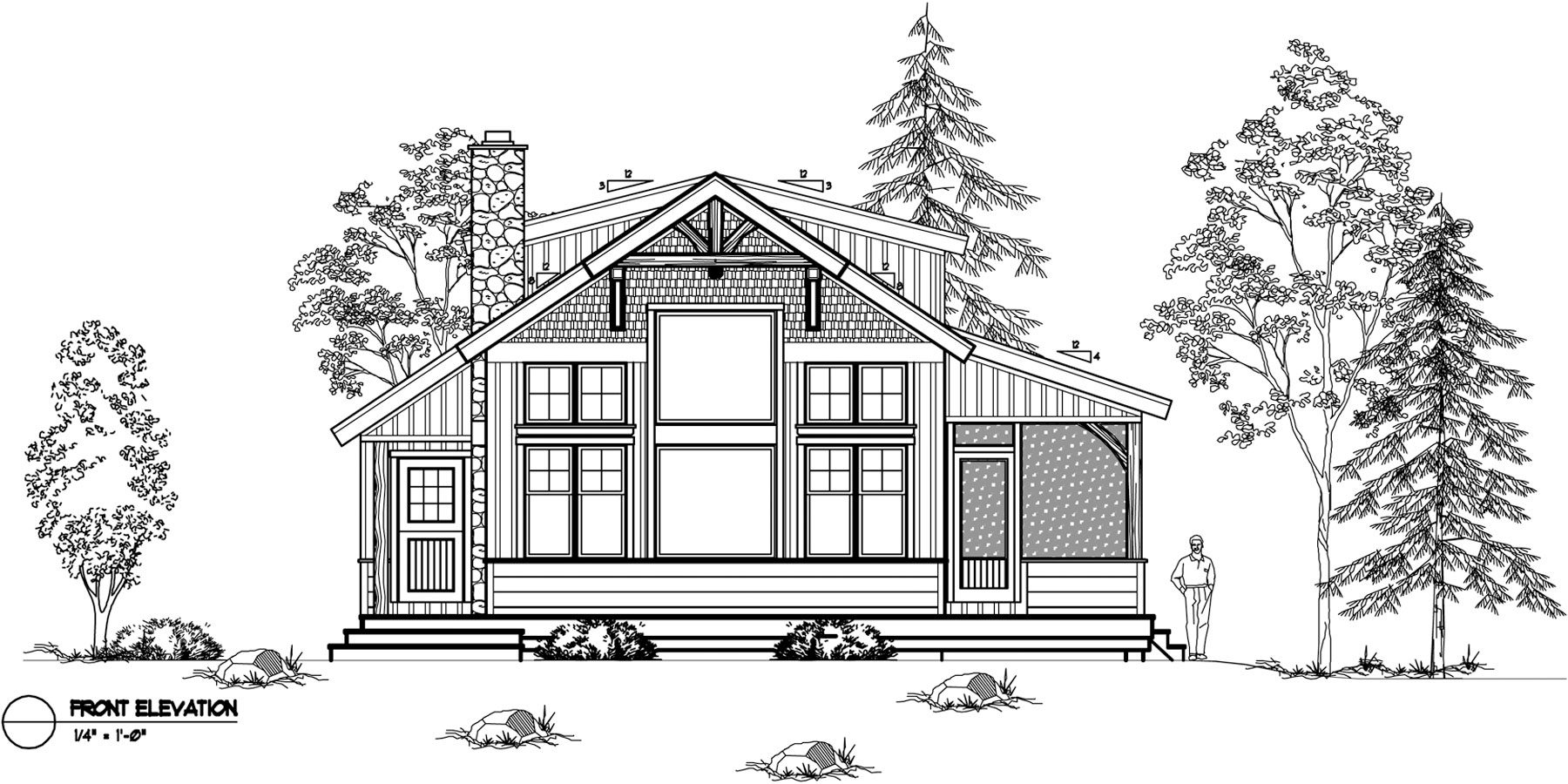 Normerica Timber Frames, House Plan, The Ranger 3575, Front Elevation