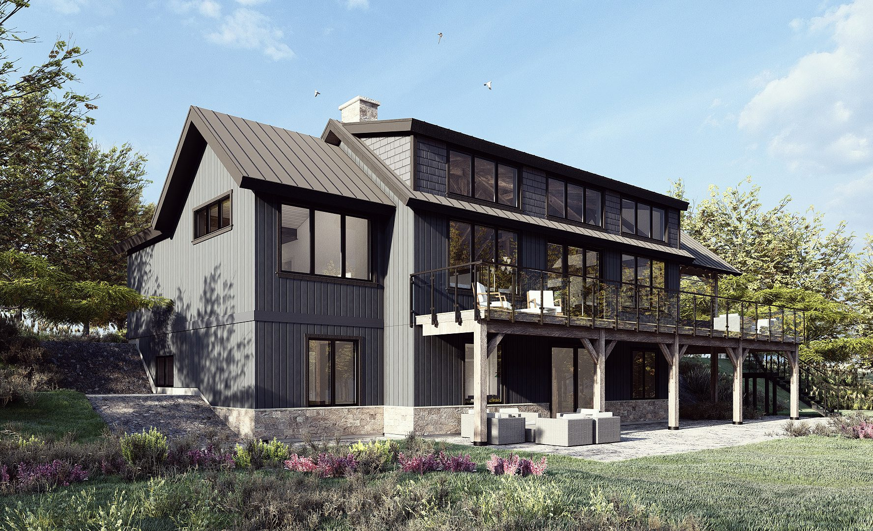 Normerica Timber Frames, House Plan, The Redstone 3920, Exterior, Rear, Side