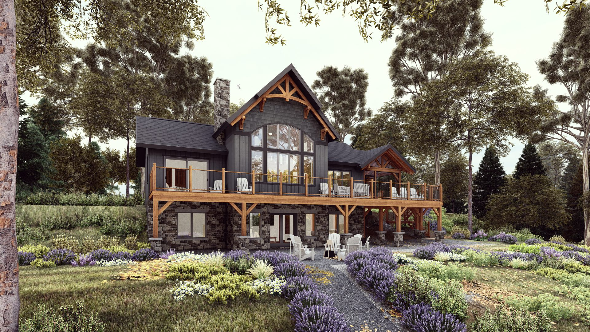 Normerica Timber Frames, House Plans, The Tobermory 3949, Exterior, Back 2