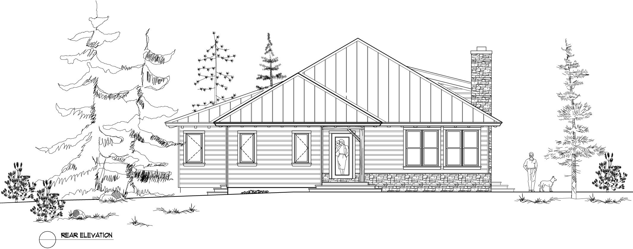 Normerica Timber Frame, House Plan, The Baril 3514, Rear Elevation