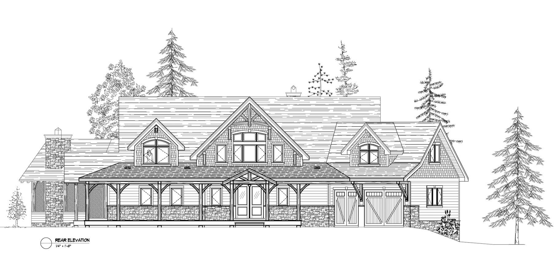 Normerica Timber Frame, House Plan, The Kearns 3510, Rear Elevation