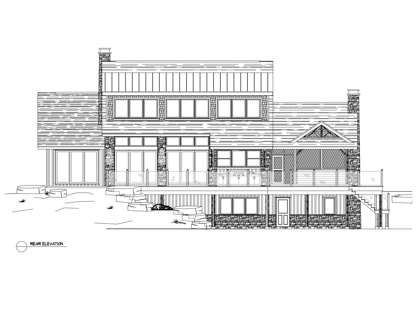 Normerica Timber Frame, House Plan, The Rosseau 3829, Rear Elevation