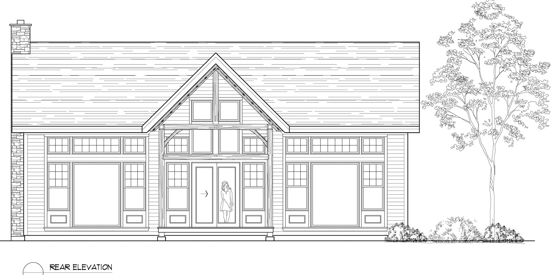 Normerica Timber Frames, House Plan, The Birches 3532, Rear Elevation