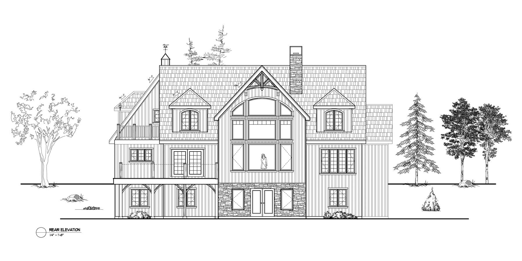 Normerica Timber Frames, House Plan, The Brennan 3576, Rear Elevation