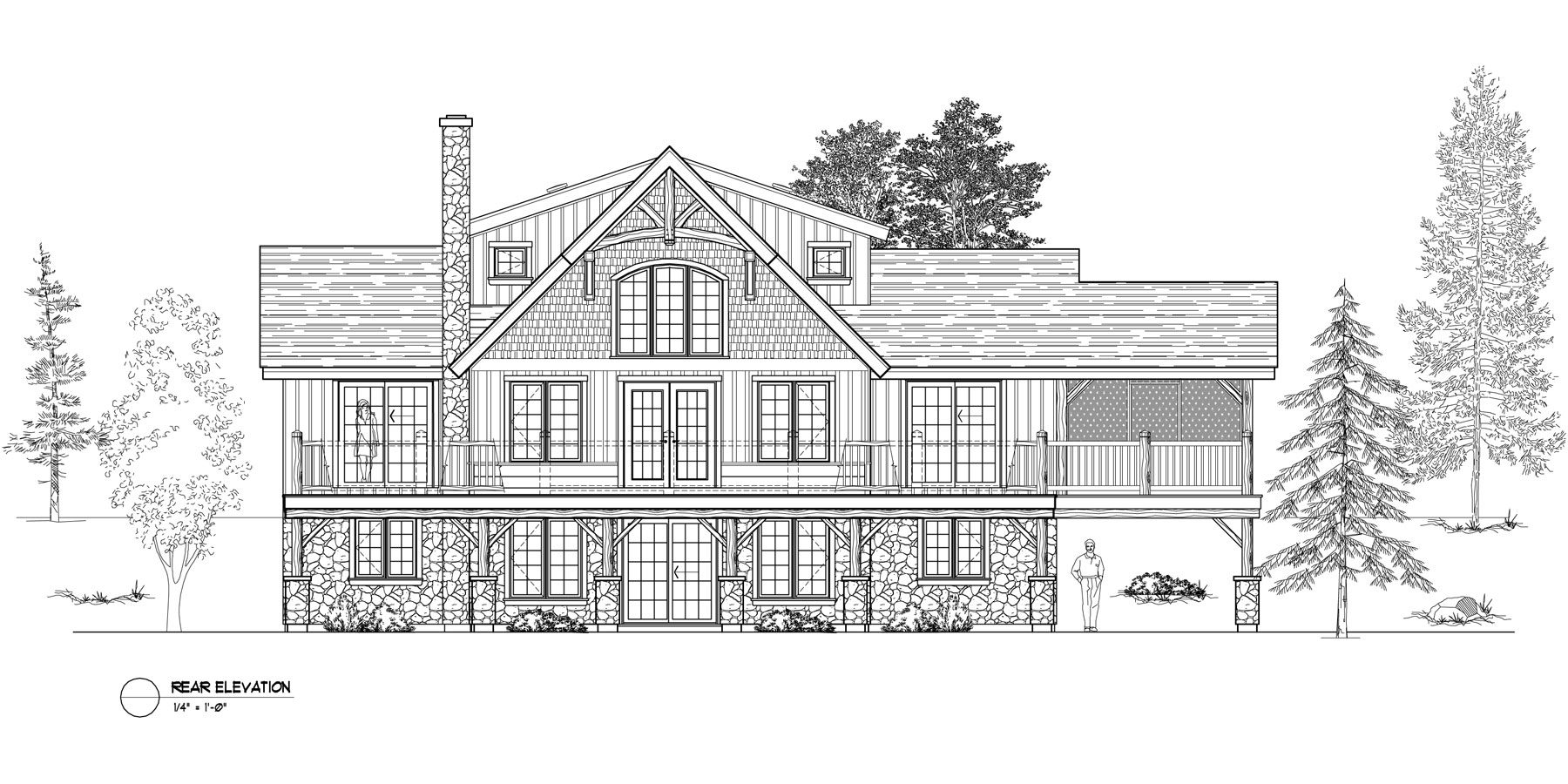 Normerica Timber Frames, House Plan, The Carleton 3115, Rear Elevation