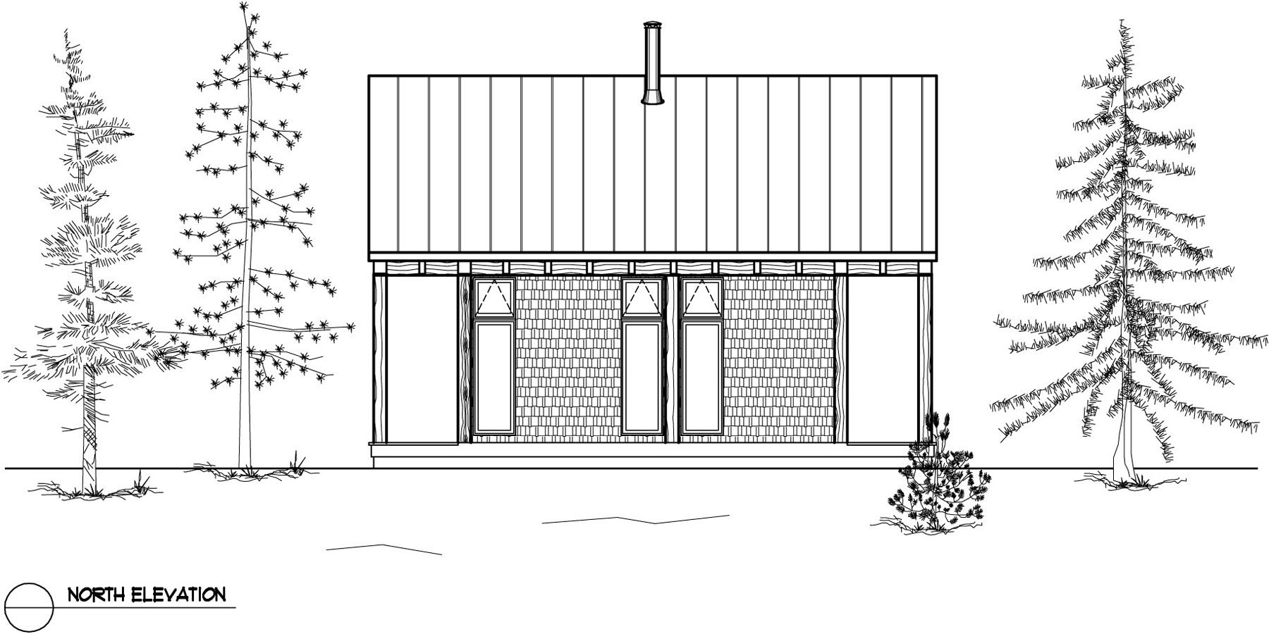 Normerica Timber Frames, House Plan, The Davidson 3872, Rear Elevation