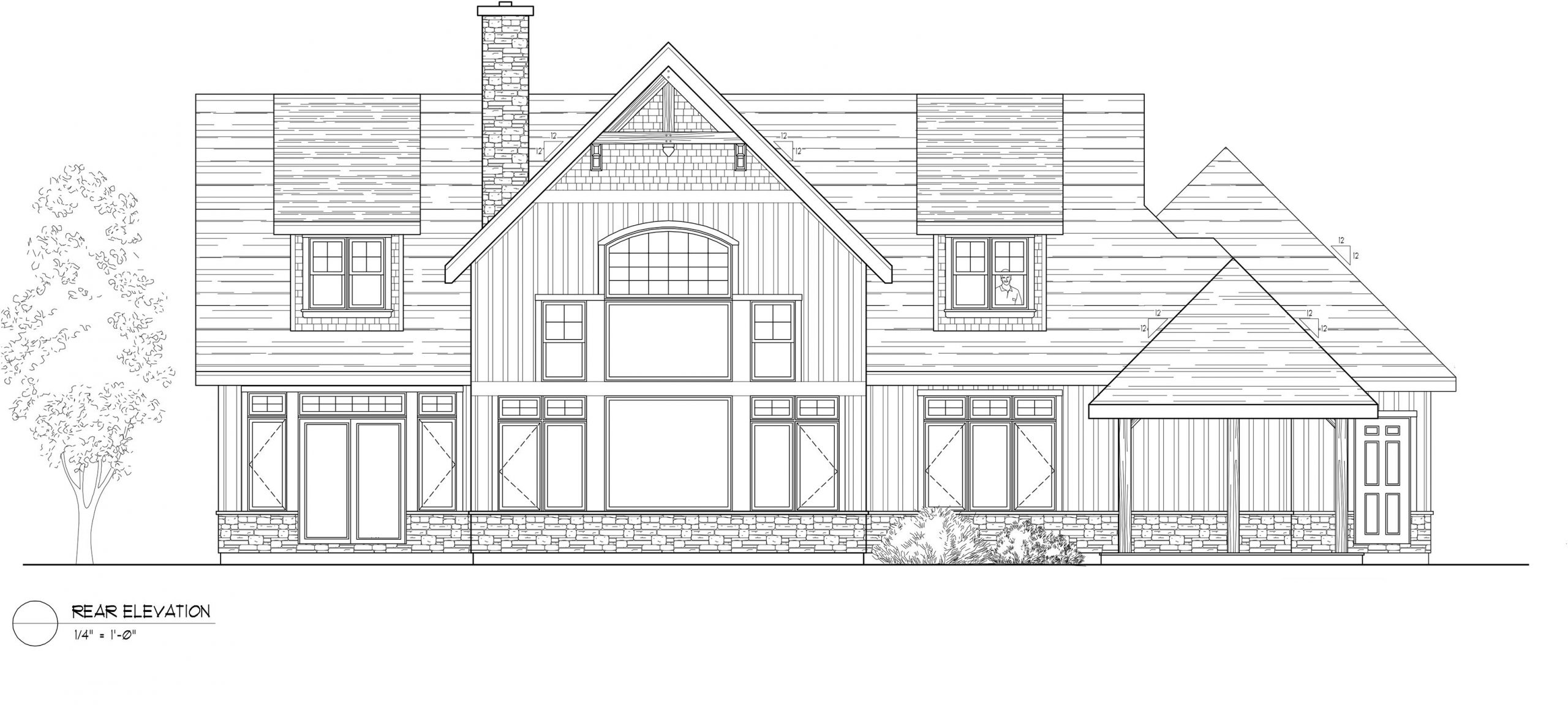Normerica Timber Frames, House Plan, The Dufferin 2822, Rear Elevation