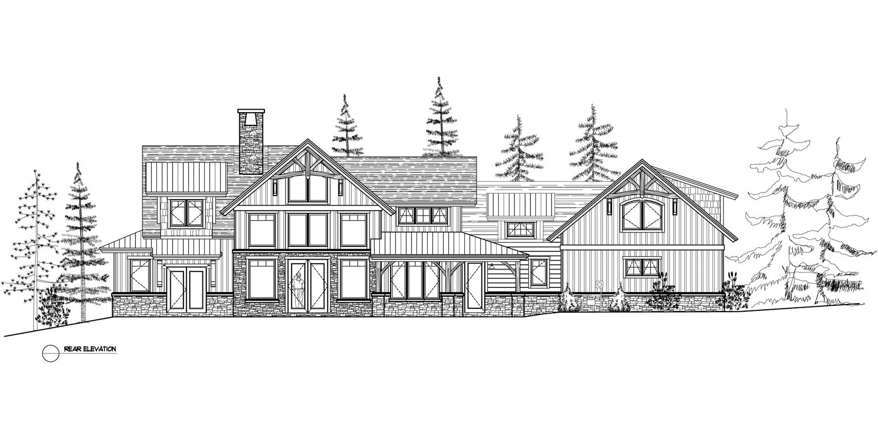 Normerica Timber Frames, House Plan, The Dufferin 3512, Rear Elevation