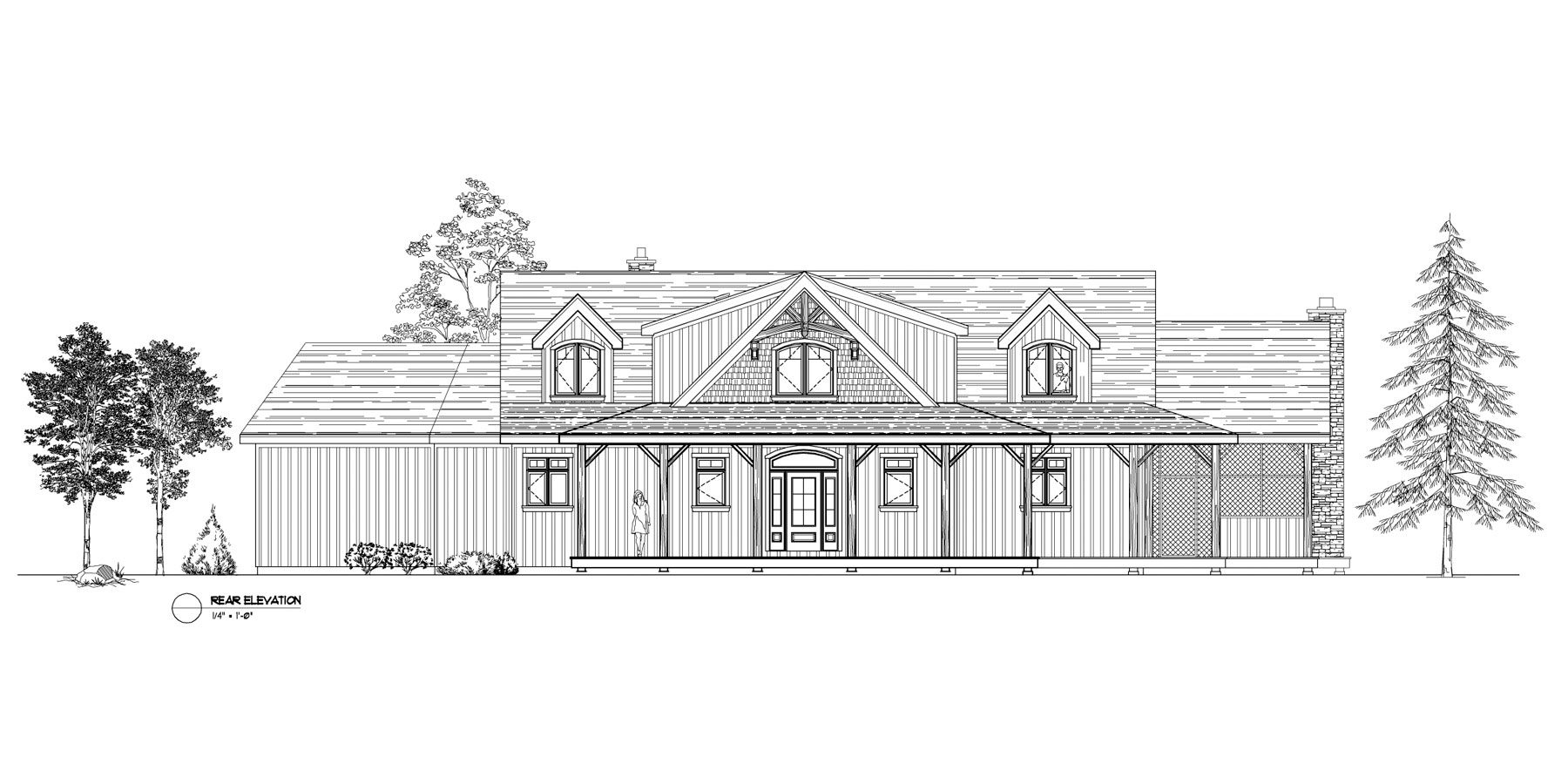 Normerica Timber Frames, House Plan, The Fremont 3582, Rear Elevation
