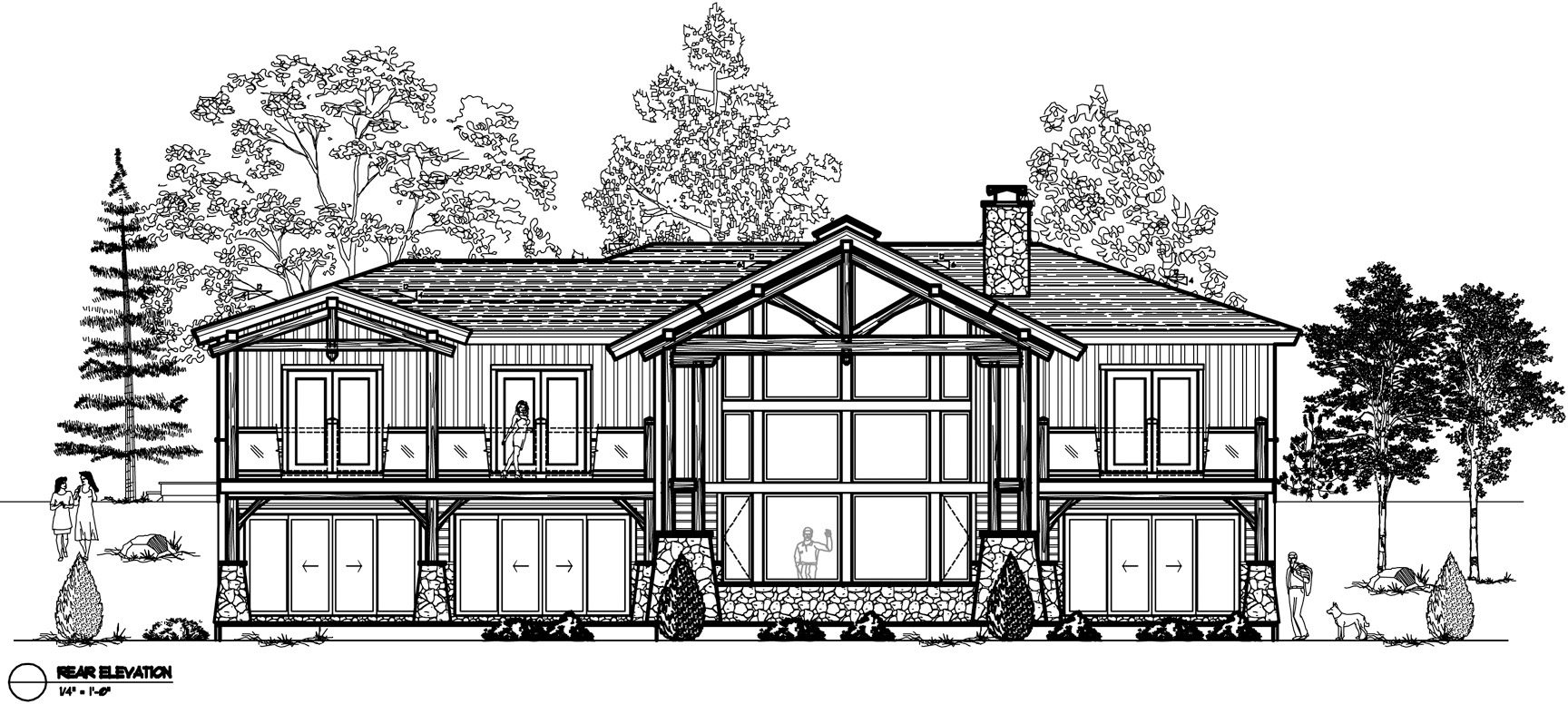 Normerica Timber Frames, House Plan, The Highrock 3579, Rear Elevation