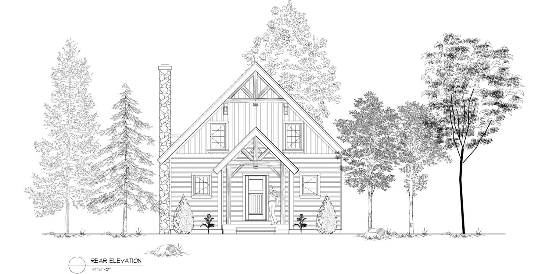 Normerica Timber Frames, House Plan, The Jackson 3605, Rear Elevation