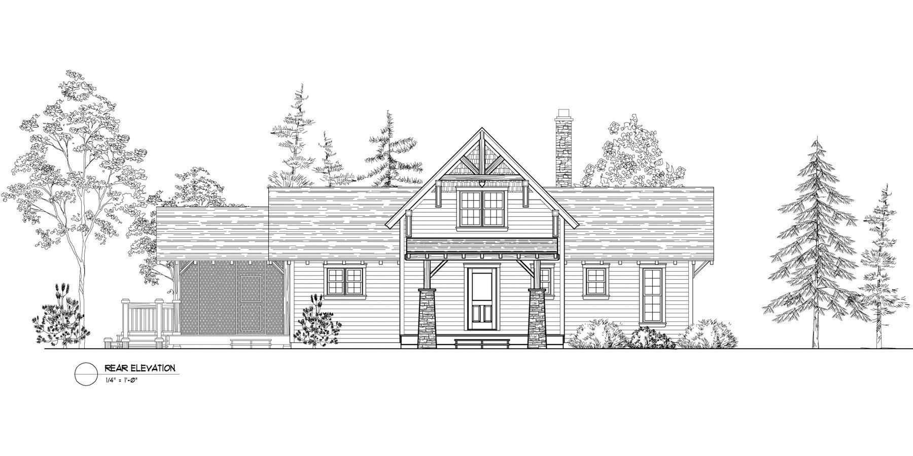 Normerica Timber Frames, House Plan, The Lanark 3522, Rear Elevation