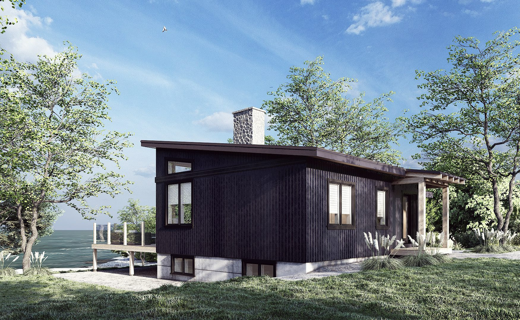 Normerica Timber Frames, House Plan, The Laurentian, Exterior, Side