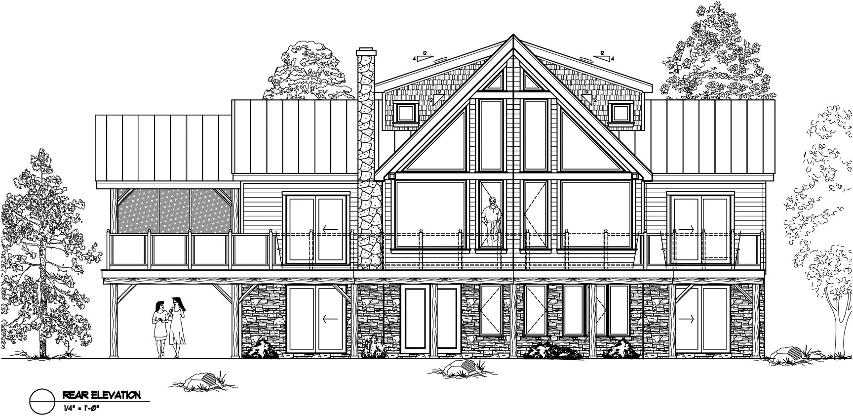 Normerica Timber Frames, House Plan, The Lennox 3546, Rear Elevation