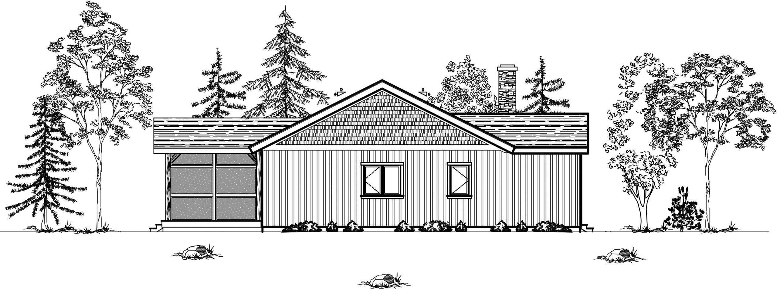 Normerica Timber Frames, House Plan, The Nipissing 3542, Rear Elevation