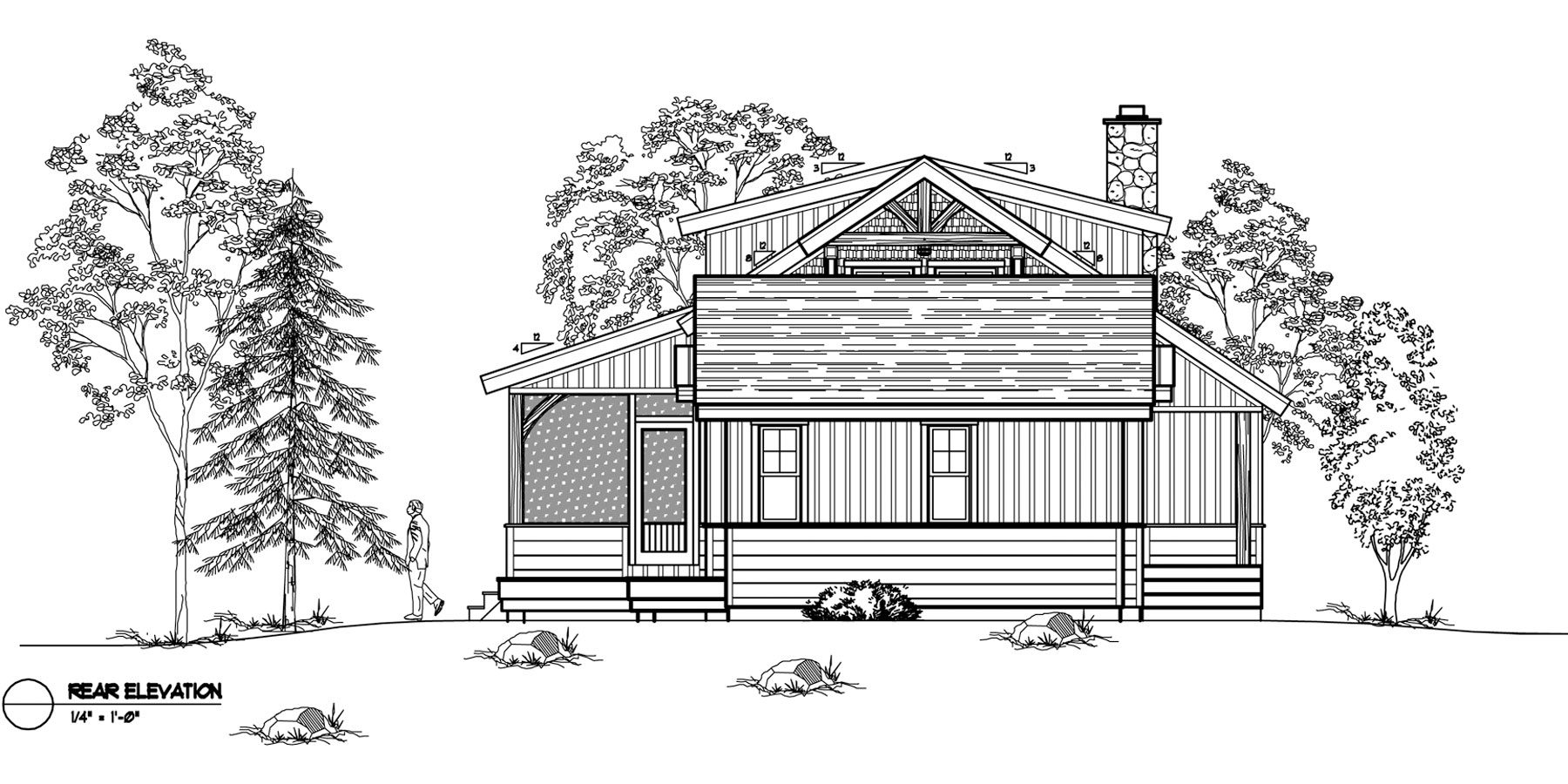 Normerica Timber Frames, House Plan, The Ranger 3575, Rear Elevation
