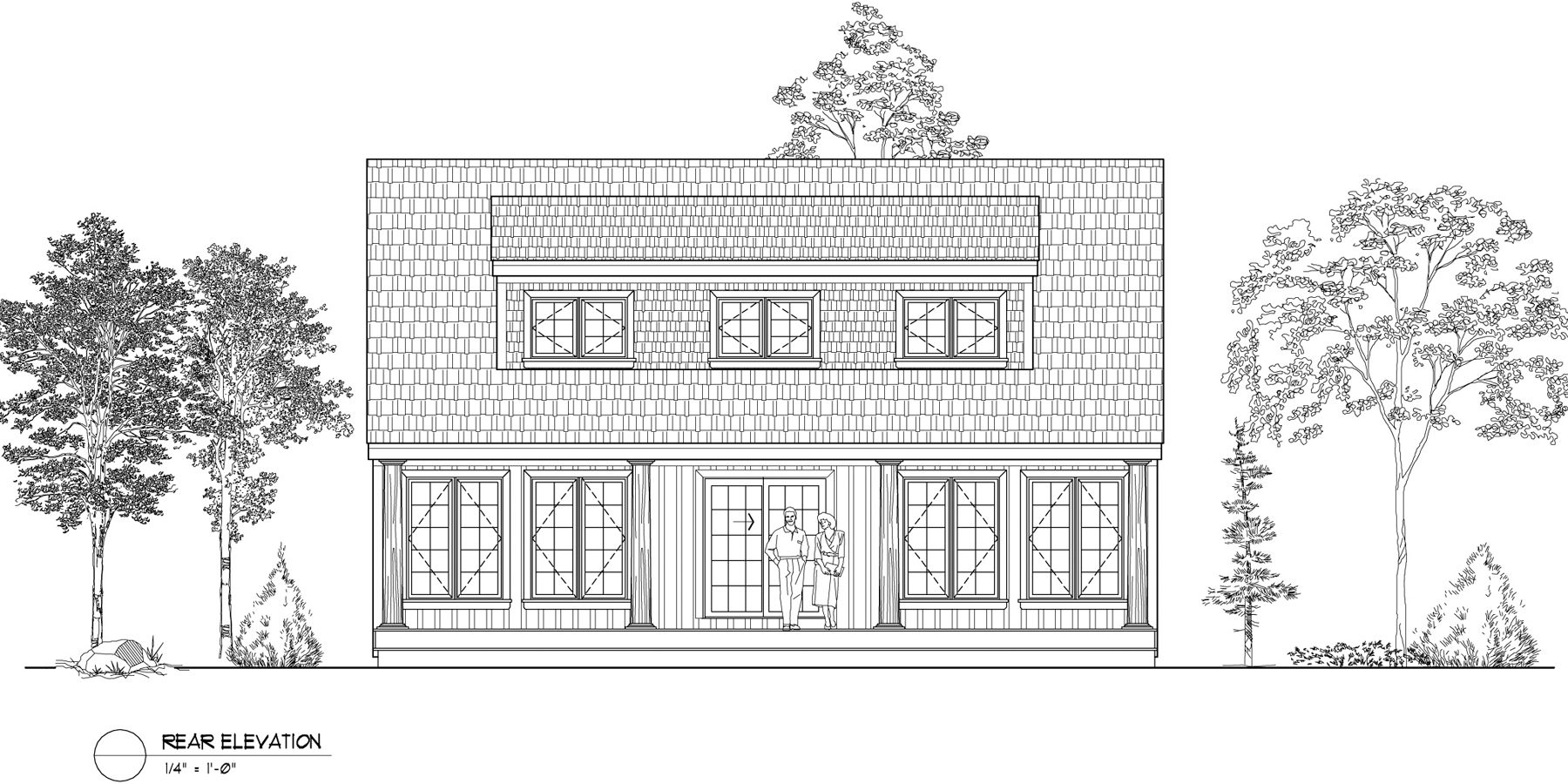 Normerica Timber Frames, House Plan, The Routt 3419, Rear Elevation