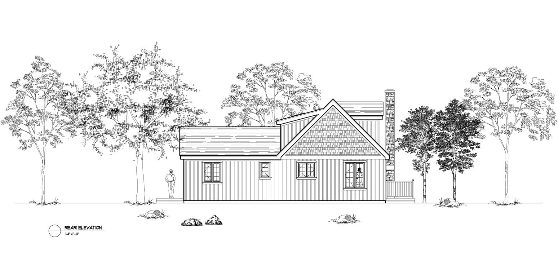 Normerica Timber Frames, House Plan, The Simcoe 3239, Rear Elevation